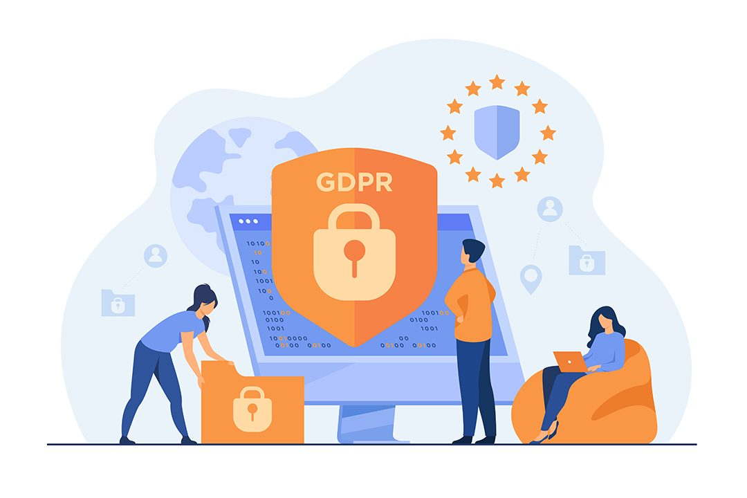 Tiny people protecting business data and legal information isolated flat vector illustration. General privacy regulation for protection of personal data. GDPR and privacy politics concept
